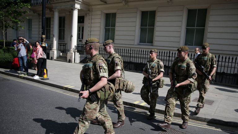 UK troops on the streets of London