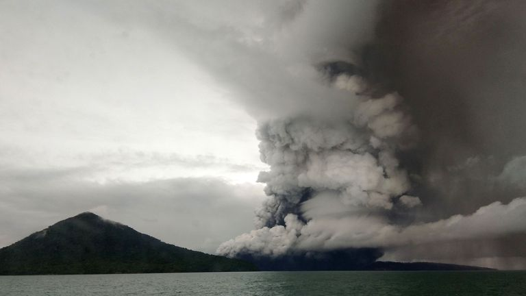 The Anak (Child) Krakatoa volcano erupting, as seen from a ship on the Sunda Straits, on Boxing Day 2018