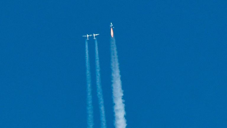 The VSS Unity was released from its carrier aircraft at an altitude of approximately 8 miles