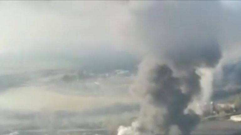 Fire at waste treatment plant in Rome dominates the skyline