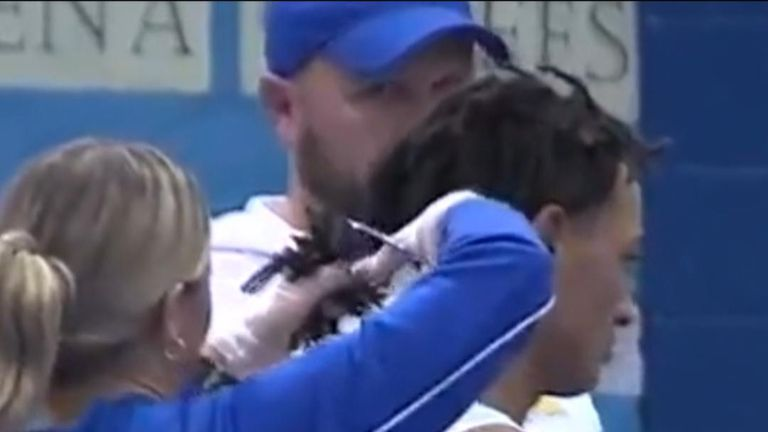 Black high school wrestler Andrew Johnson was forced to have his dreadlocks cut off by a white referee in order to compete