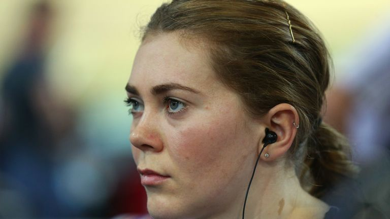Jess Varnish, pictured in 2015 while competing for Great Britain at the UCI Track Cycling World Championships