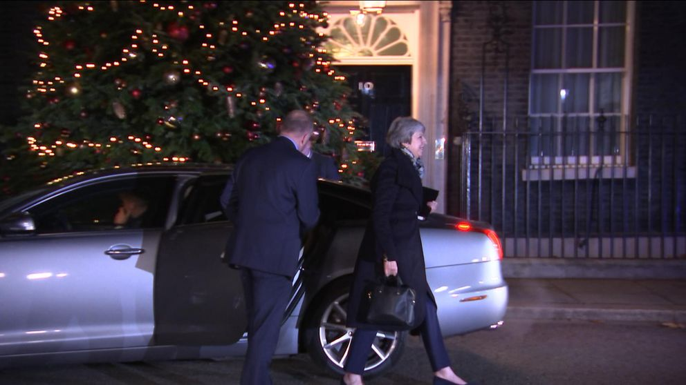 Theresa May heads into Downing Street to find out if she will remain Conservative leader