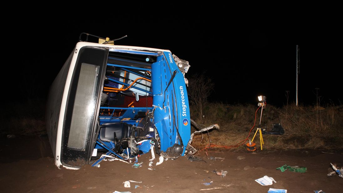 The driver-side of the bus was destroyed in the collision. Pic: Northpix