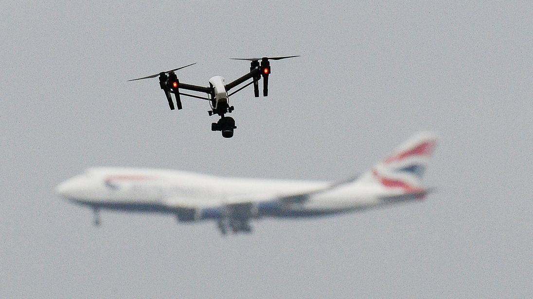 A drone and an aircraft