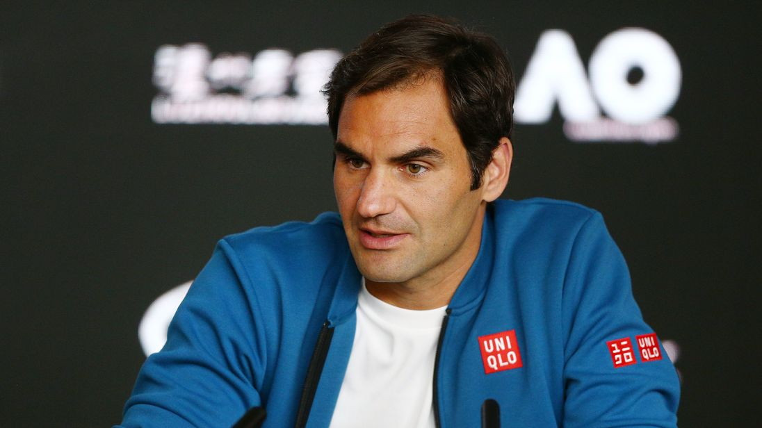 Roger Federer of Switzerland speaks to media ahead of the 2019 Australian Open at Melbourne Park on January 13, 2019 in Melbourne, Australia