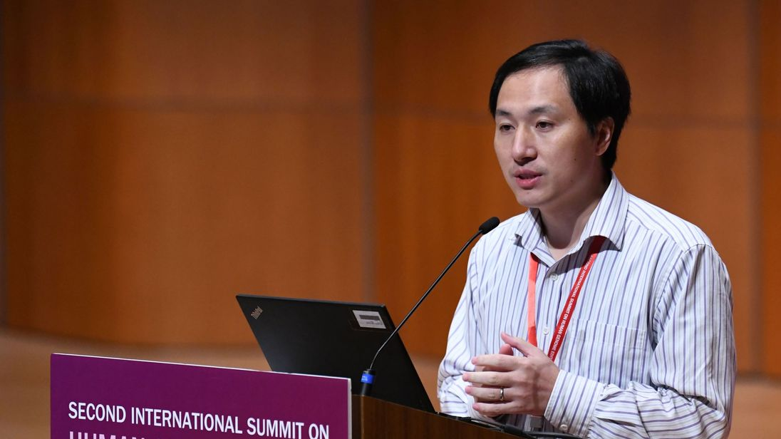 Chinese scientist He Jiankui speaks at the Second International Summit on Human Genome Editing in Hong Kong on November 28, 2018. - Organisers of a conference that has been upended by gene-edited baby revelations are holding their breath as to what He, the controversial scientist at the centre of the 'breakthrough', will say when he takes the stage on November 28. (Photo by Anthony WALLACE / AFP) (Photo credit should read ANTHONY WALLACE/AFP/Getty Images)