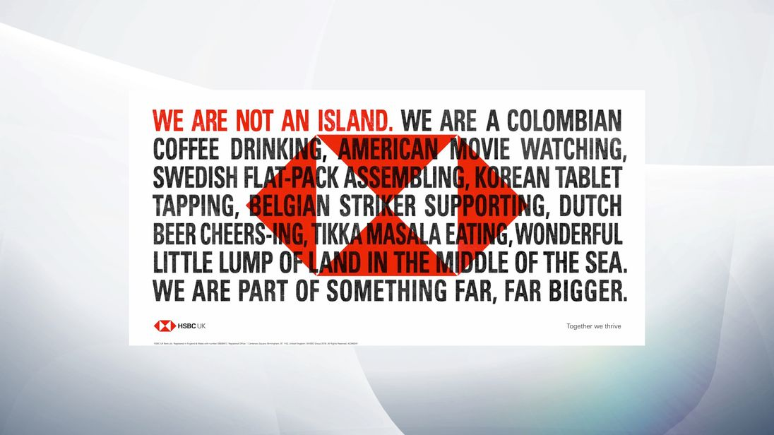 The advert highlights the influence of overseas countries and cultures on life in the UK. Pic: HSBC