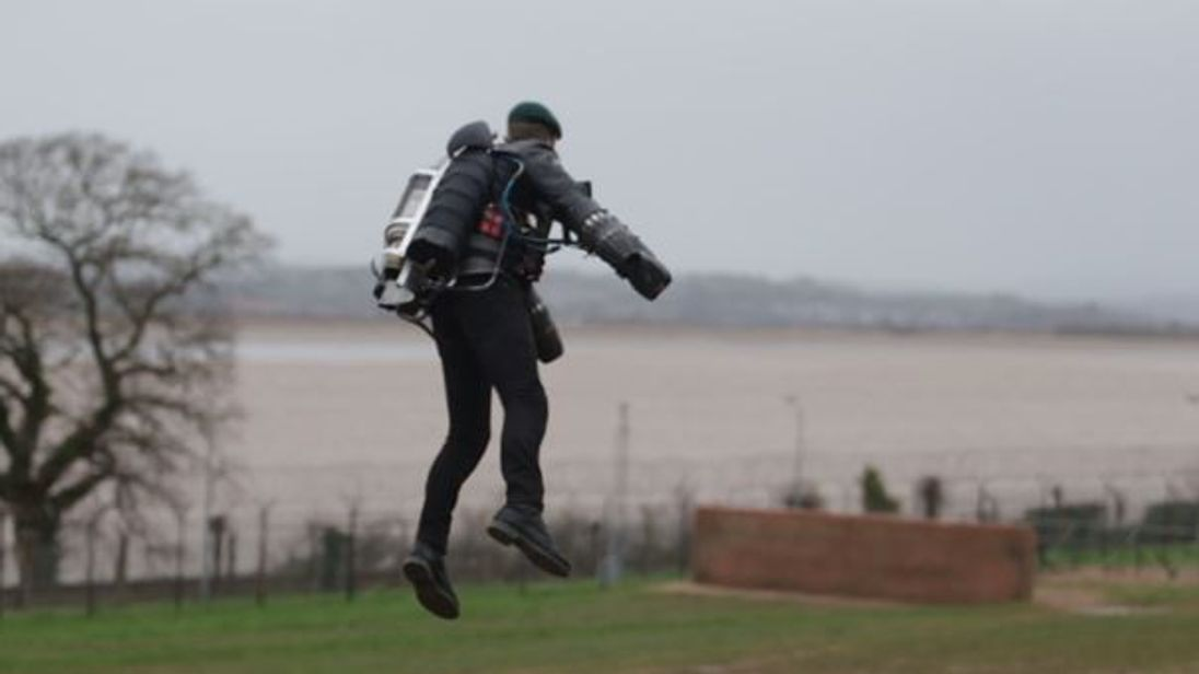 'Iron Man' former Royal Marine flies assault course in jet pack