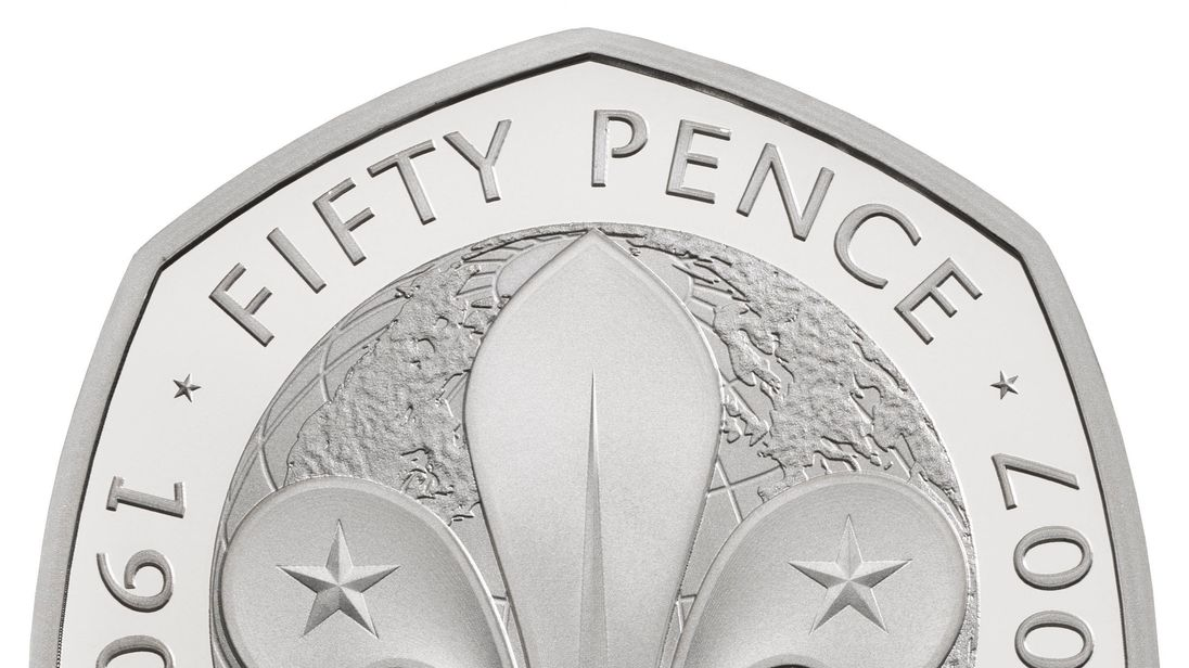Undated handout photo issued by the Royal Mint of the commemorative 100 years of the Scouts 50p, that features in special anniversary Proof set, which will be be struck to mark the anniversary of the revolutionary seven-sided coin, first introduced in 1969.