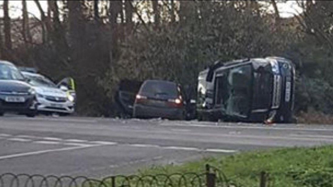 Prince Philip 'shocked and shaken' but uninjured after vehicle overturns in crash