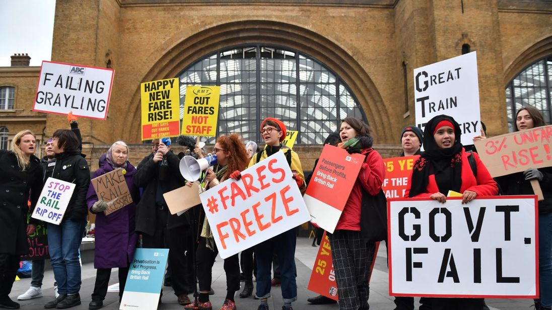 Rail protestors outside Kings Cross St Pancras station