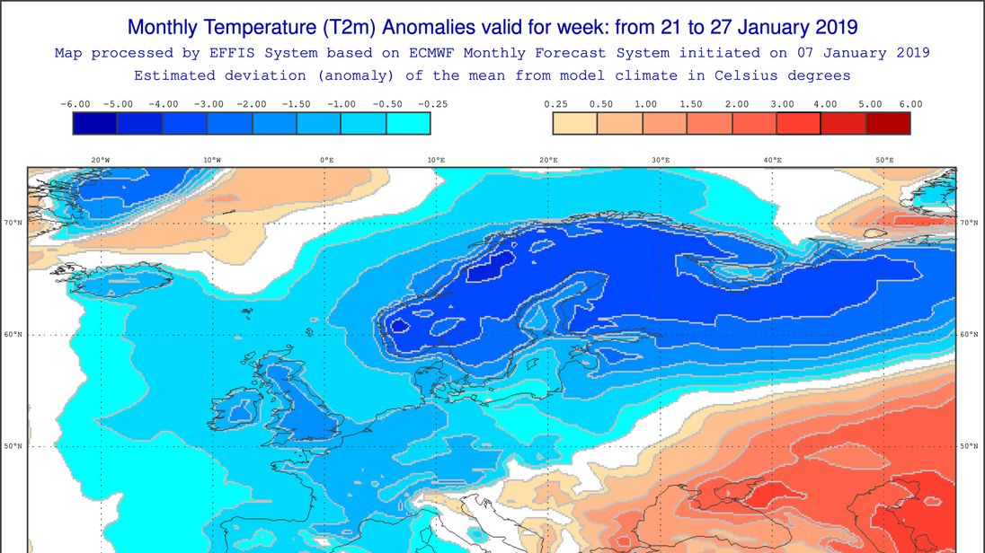 European Commission charts show there is a chance of colder than average temperatures