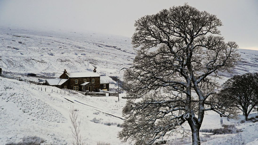 Snow covers the Killhope lead mining museum in County Durham