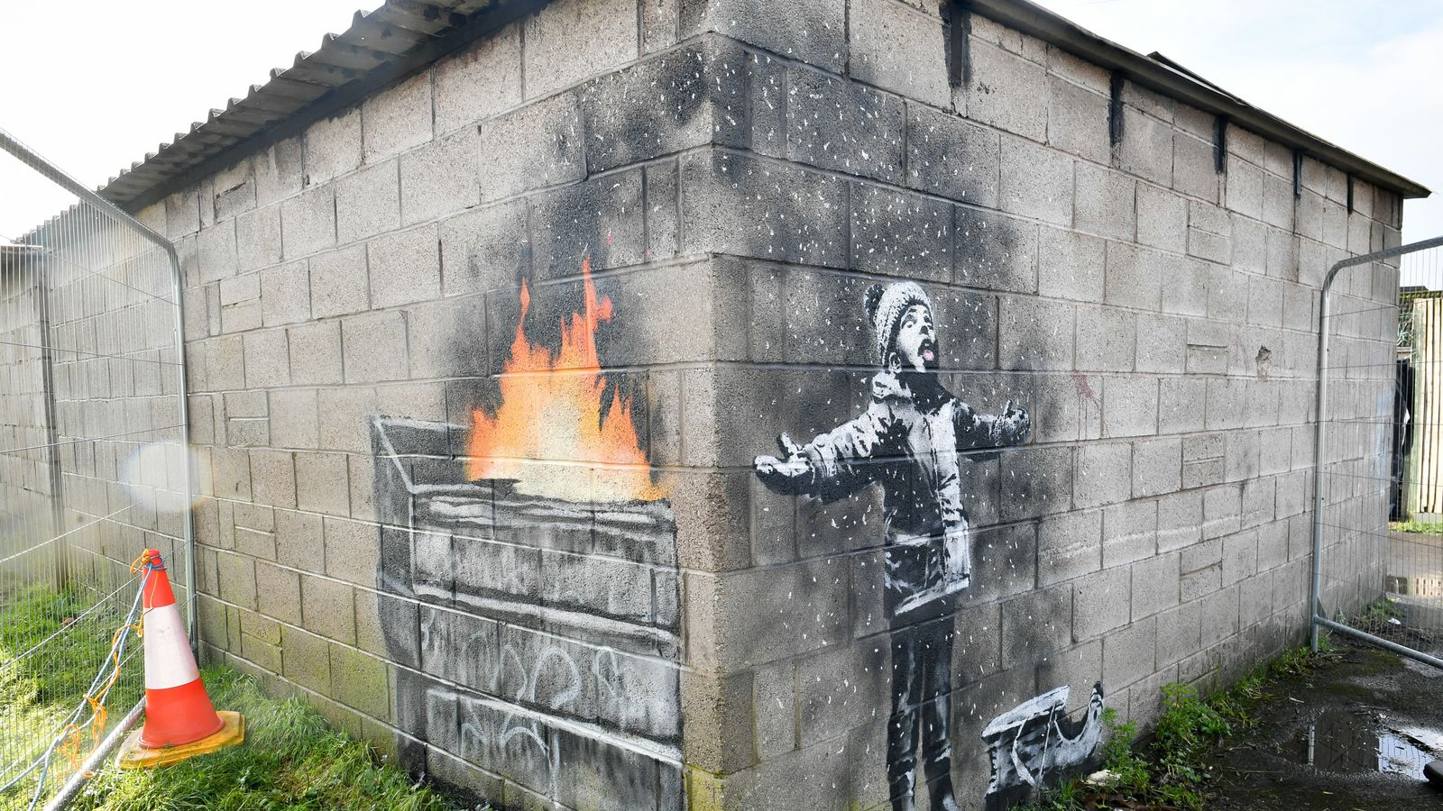 Banksy: Work starts to relocate Port Talbot street art from garage to  museum | Ents & Arts News | Sky News