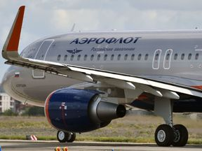 An Airbus A320 belonging to the Russian company Aeroflot prepares to take off on September 26, 2017 from Toulouse-Blagnac airport in southwestern France