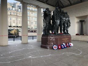 The Bomber Command Memorial in London, which has been vandalised overnight with white gloss paint.
