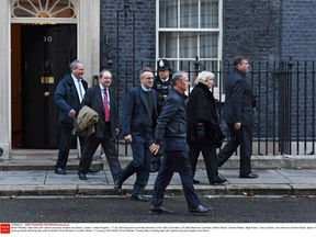 Executive committe members of the 1922 Committee depart 10 Downing Street