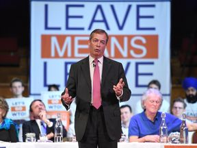 Former UKIP leader Nigel Farage speaks during the Brexit: Let's go WTO rally