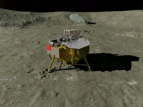 Graphic representation of the Chang'e 4 lunar explorer on the Moon