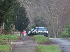 The Duke of Edinburgh seen driving his new black Land Rover Freelander on Saturday afternoon