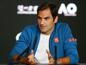 Roger Federer of Switzerland speaks to media ahead of the 2019 Australian Open at Melbourne Park on January 13, 2019 in Melbourne, Australia