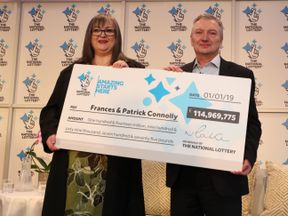 Frances and Patrick Connolly from Moira, County Armagh in Northern Ireland, who scooped a £115 million EuroMillions jackpot in the New Year's Day lottery draw