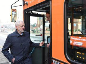 Jeremy Corbyn talking to a bus driver in Nottingham