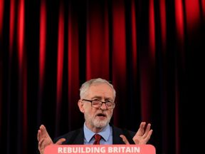Labour leader Jeremy Corbyn speaking at St Mary�s in the Castle during a visit to Hastings in East Sussex.