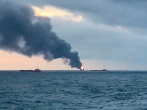 The ships caught on fire in the Kerch Strait connecting the Black Sea and the Sea of Azov