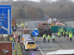 The scene of the crash on the M58