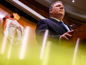 US Secretary of State Mike Pompeo pauses during a press conference with Jordanian Foreign Minister at the start of a Middle East tour to show commitment to the region after the US President's surprise decision to withdraw troops from war-torn Syria on January 8, 2019