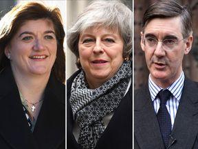 Nicky Morgan, Theresa May and Jacob Rees-Mogg