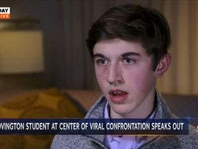 Nick Sandmann said he woul 'like to talk to' Mr Phillips. Pic: NBC