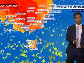 Sky News Australia forecasts a very hot day in the country's east and centre. Pic: Sky News Australia