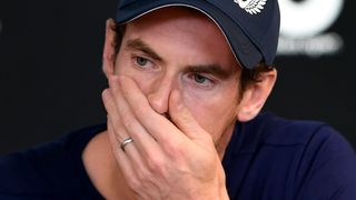 Andy Murray of Great Britain breaks down during a press conference in Melbourne on January 11, 2019, ahead of the Australian Open tennis tournament