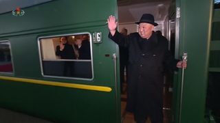 North Korean state broadcasters shows Kim Jong Un departing for China.