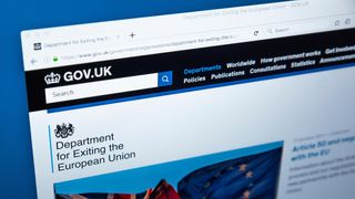 The homepage of the Department for Exiting the European Union on the UK Government website