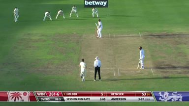 Holder (5) caught and bowled Anderson: WI 261-7