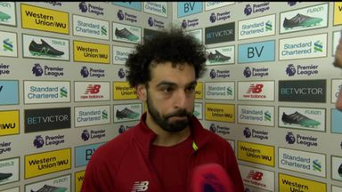 Salah reacts to 50th PL goal