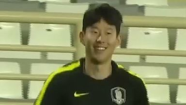 Son trains with South Korea