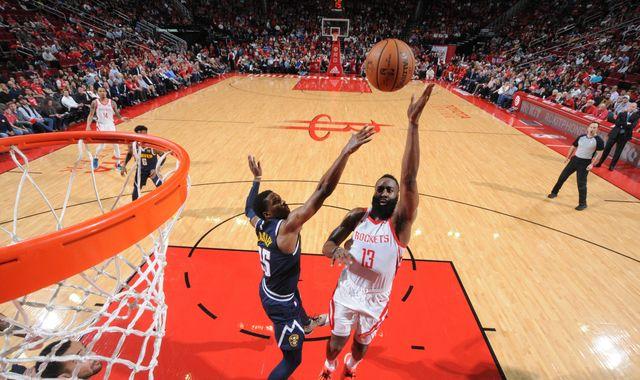 31d837cb5874 James Harden scores 32 points as Houston Rockets snap Denver Nuggets win  streak