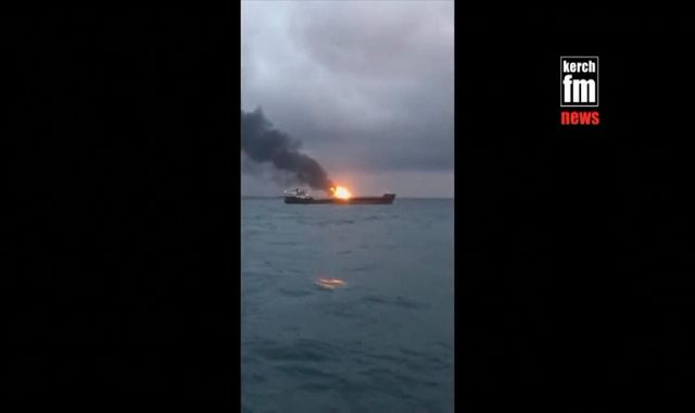 Fourteen crew members dead as two gas tankers catch fire near Crimea