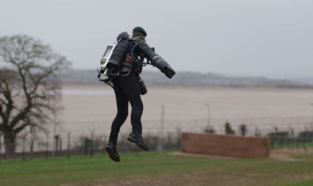 'Iron Man' former Royal Marine flies assault course in jet pack
