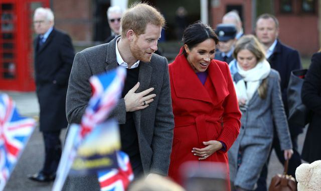 Meghan drops due date hint as she visits Birkenhead with Harry