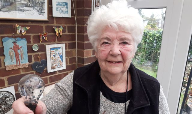 Grandmother's lightbulb bought from Woolworths in 1943 still works