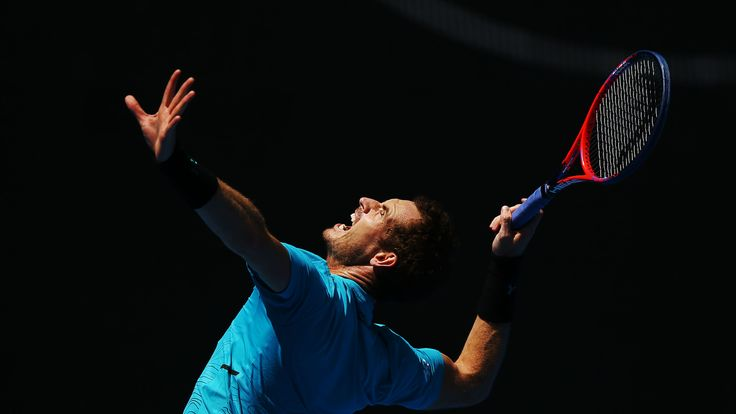 Andy Murray of Great Britian serves during a practice session ahead of the 2019 Australian Open at Melbourne Park on January 06, 2019 in Melbourne, Australia