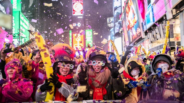 People celebrate New Year's Eve in Times Square in the Manhattan borough of New York, U.S., December 31, 2018