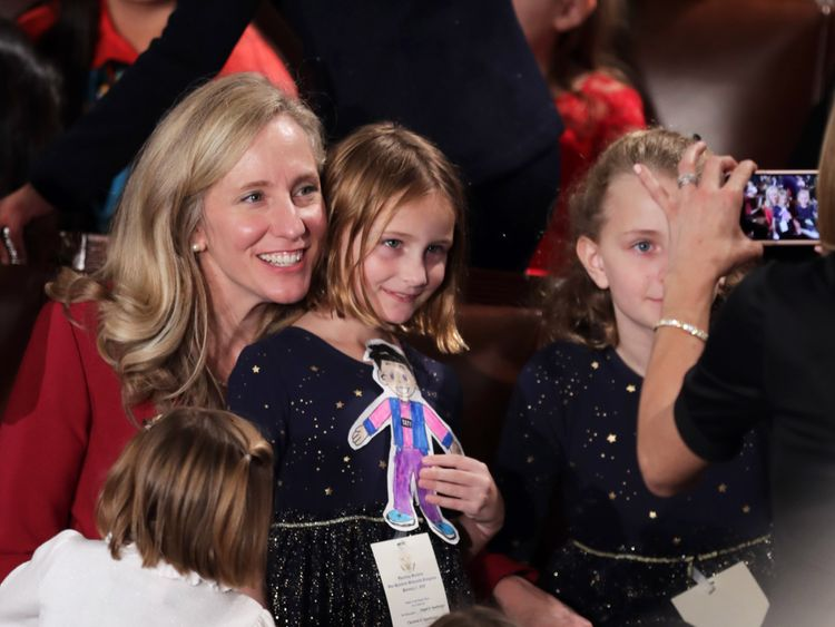 Member-elect Abigail Spanberger (D-VA) poses for a photo with her kids before the first session of the 116th Congress