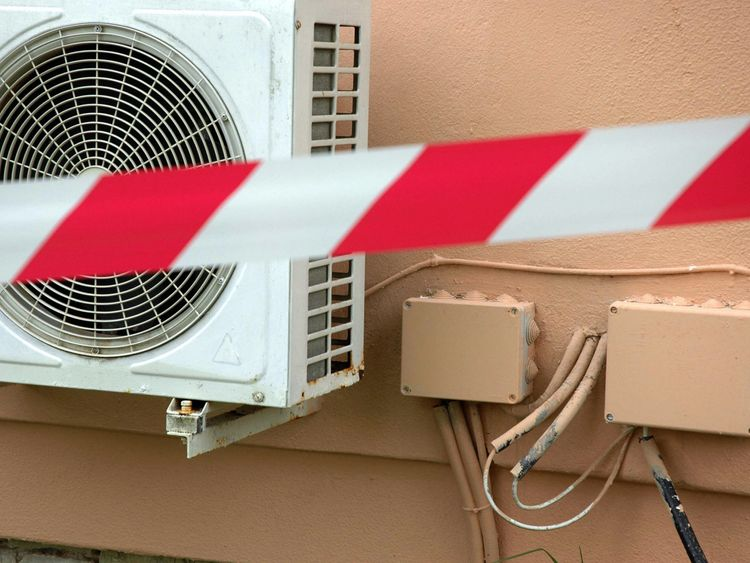Gouvia, GREECE: A detail of the air-conditioning system in the bungalow of the Corcyra hotel where the two British children were found dead Thursday, on 28 October 2006. A carbon monoxide leak has been blamed for the death of the children , a coroner said on Saturday. Local authorities said the owners and management of the Louis Corcyra Beach hotel faced charges of criminal negligence after investigators found the bungalow's heating system had been improperly wired and maintained. AFP PHOTO /DIM